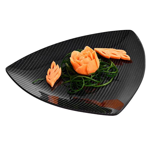 Carbon Fiber Dining Plate Triangle 24 X 24 X 24 CM Shop