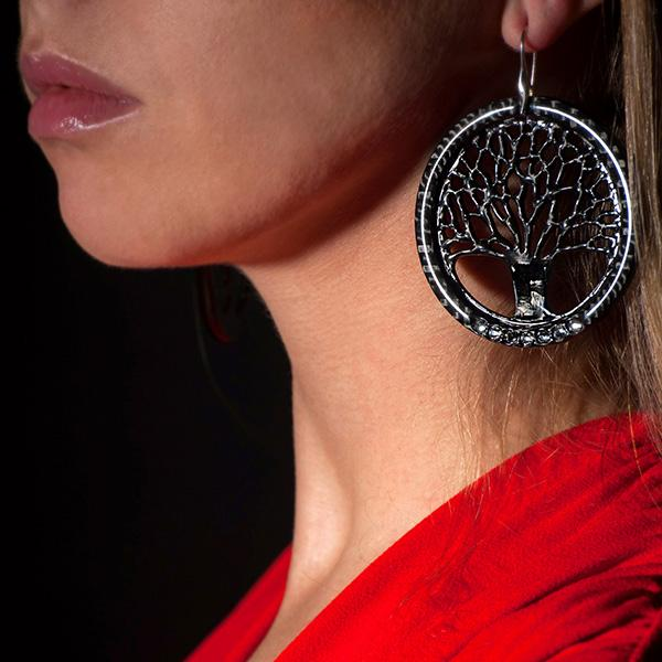 "LADIES CARBON FIBER EARRINGS ""BIG TREE OF LIFE"" CARBON FIBER JEWELRY"