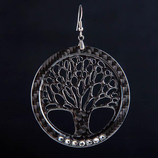 Карбонови обеци Big Tree of Life High Gloss Swarovski  Магазин Zak Code