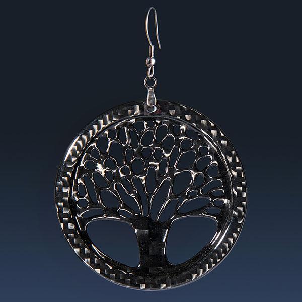 LADIES CARBON FIBER EARRINGS BIG TREE OF LIFE HIGH GLOSS Shop