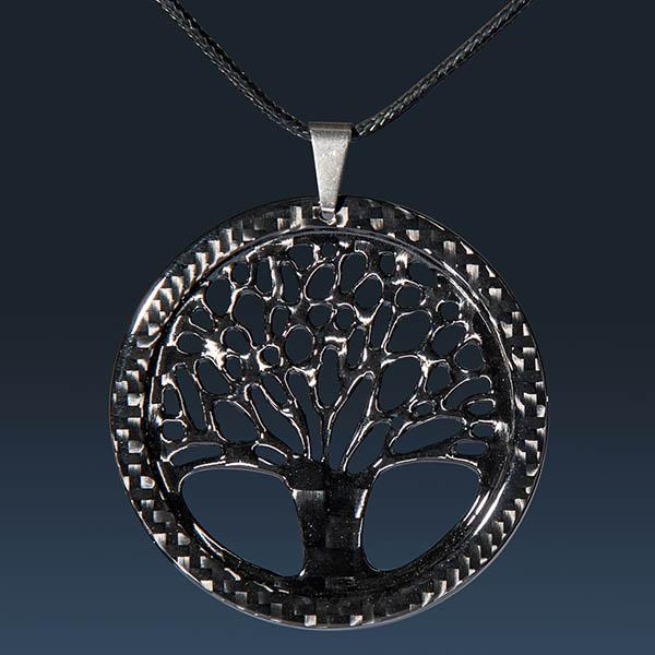 LADIES CARBON FIBER PENDANT BIG TREE OF LIFE HIGH GLOSS Shop