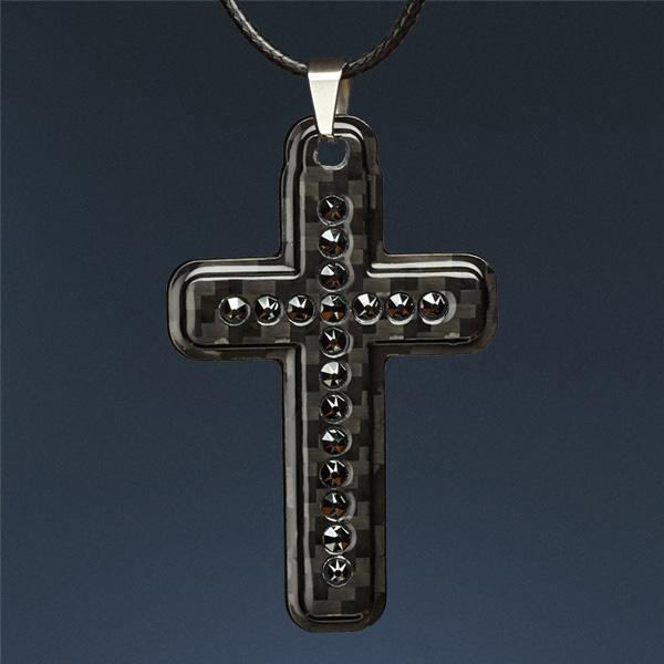 Carbon Fiber Pendant Black Cross Swarovski