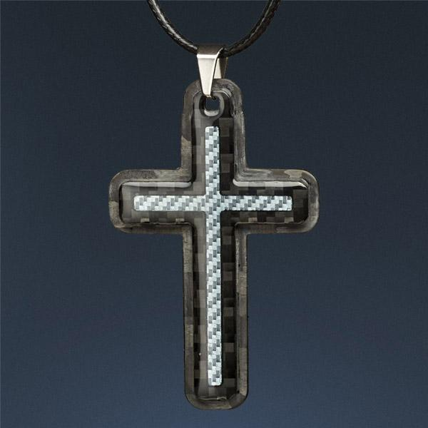 Carbon Fiber Pendant Blue Cross
