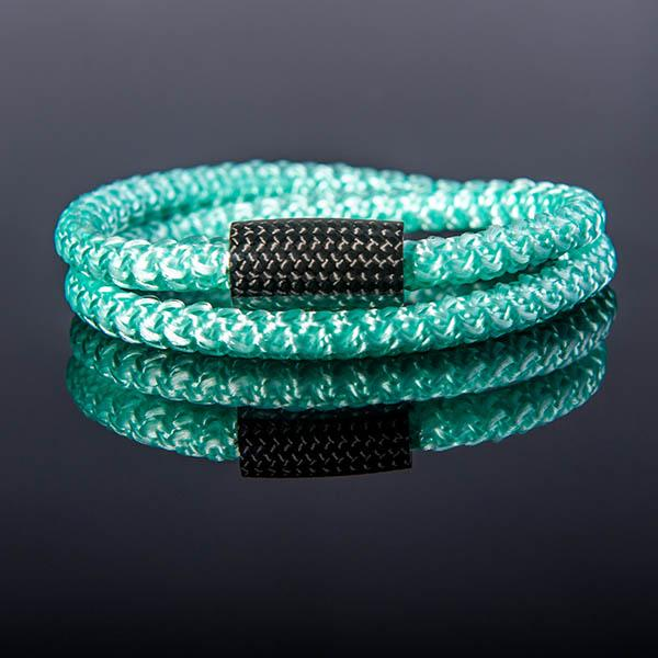 Carbon Fiber Bracelet Double Surf Cord Mint Green