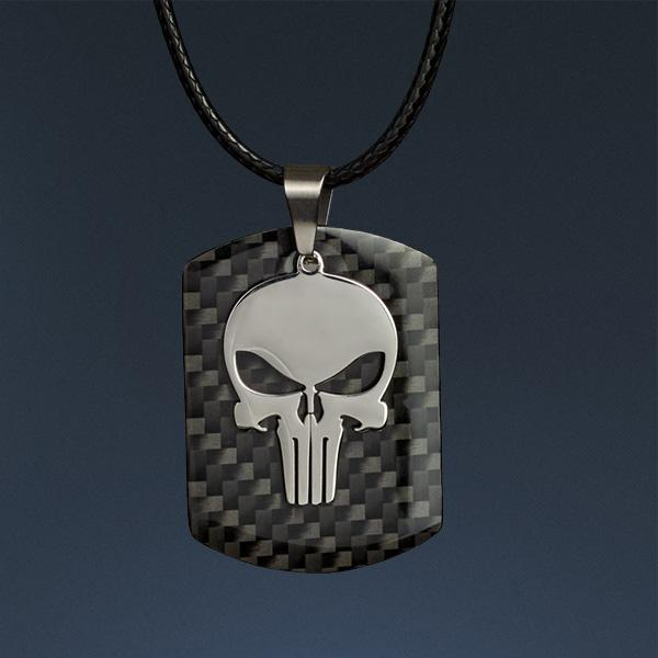 Carbon Fiber Pendant Skull Dog Tag Shop