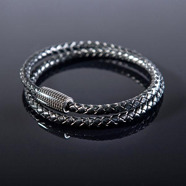 Carbon Fiber Bracelet Double Black Leather Shop