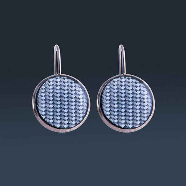 Ladies Carbon Fiber Earrings Circle Blue