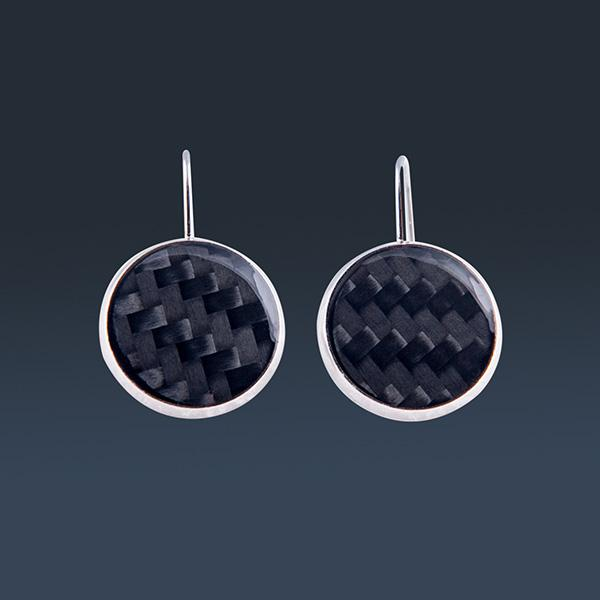 Carbon Fiber Earrings Circle Black Shop