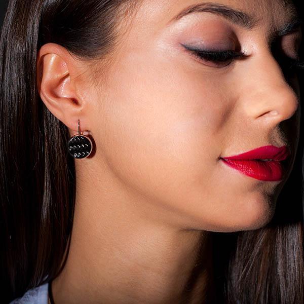 Carbon Fiber Earrings Circle Black Shop