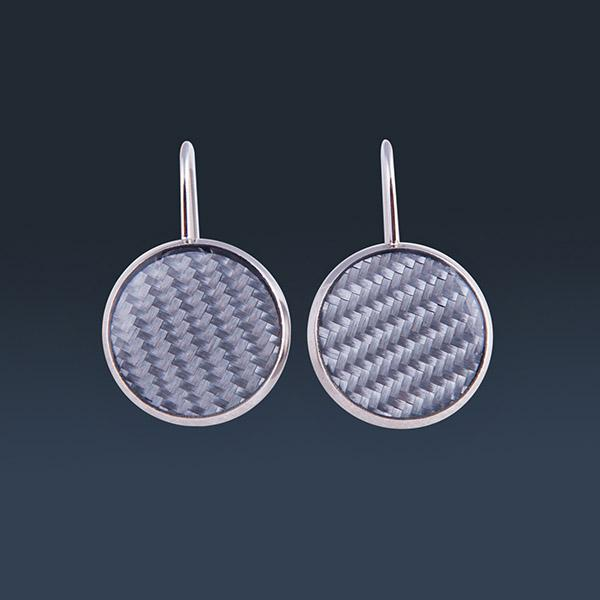 Carbon Fiber Earrings Circle Silver Shop