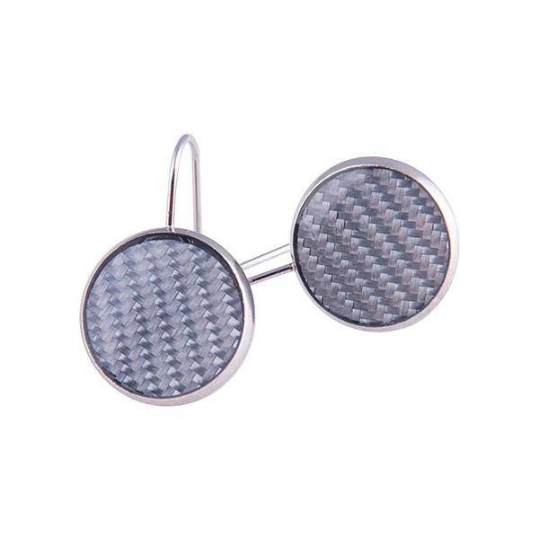 Carbon Fiber Earrings Circle Silver Shop