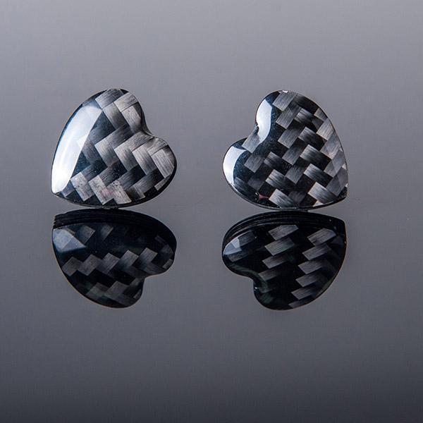 Carbon Fiber Earrings Hearts