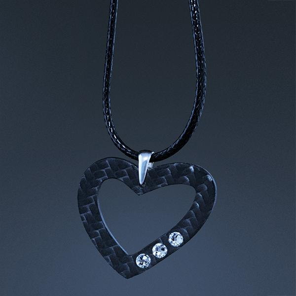 Carbon Fiber Pendant Heart CARBON FIBER JEWELRY
