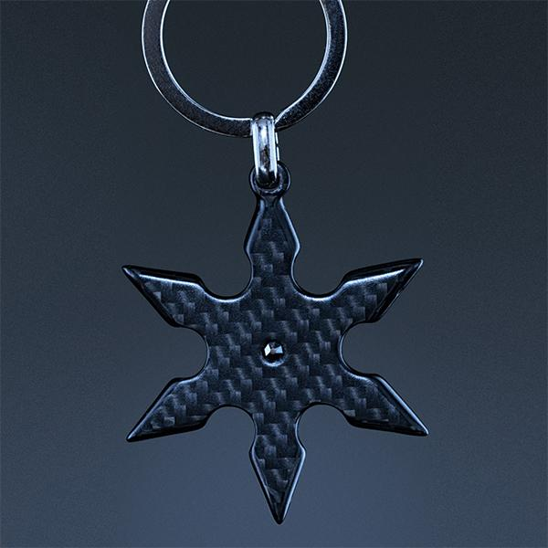 Carbon Fiber Key Holder Shuriken High Gloss Shop