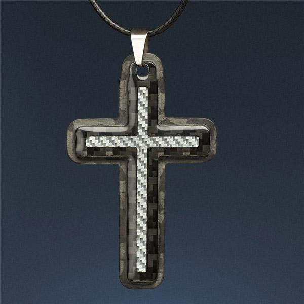 Carbon Fiber Pendant Silver Cross Shop