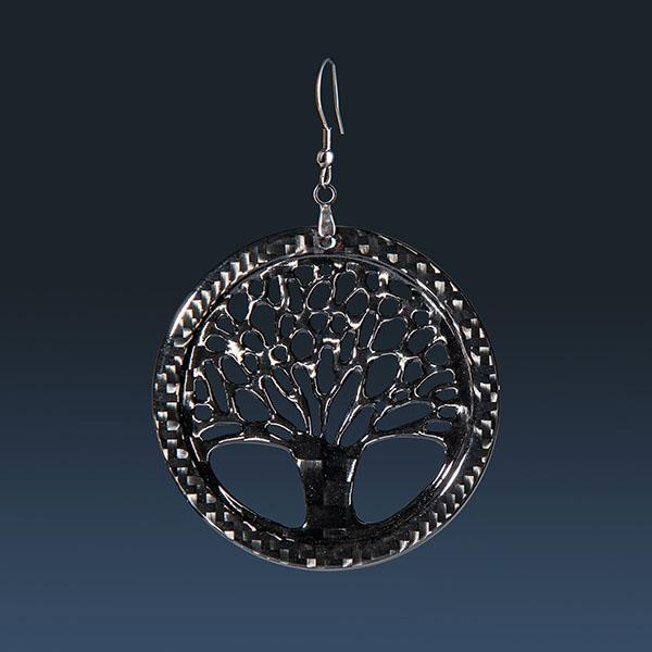 LADIES  CARBON FIBER EARRINGS SMALL TREE OF LIFE HIGH GLOSS Shop