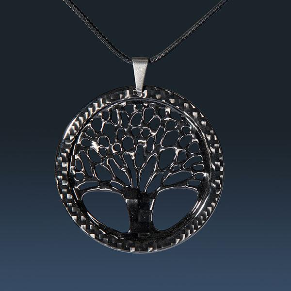 Carbon Fiber Pendant Small Tree of Life High Gloss  Shop
