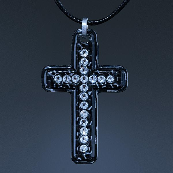 Carbon Fiber Pendant White Cross Swarovski  Shop