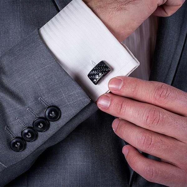 Карбонови ръкавели White Stone Cufflinks Магазин Zak Code