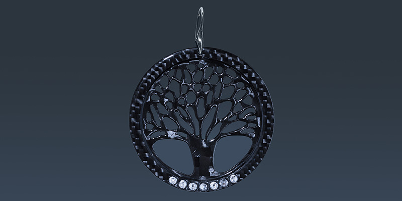 Карбонови обеци Big Tree of Life with Swarovski crystals